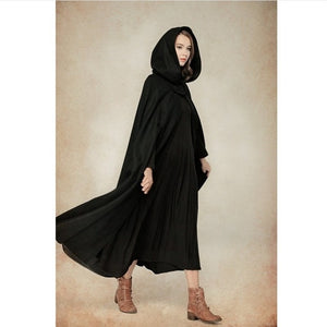 Nesa Fashion Winter Cloak Hooded Coat Women Vintage Gothic Cape Poncho Coat Medieval Victorian Warm Long Cape Trench Coat