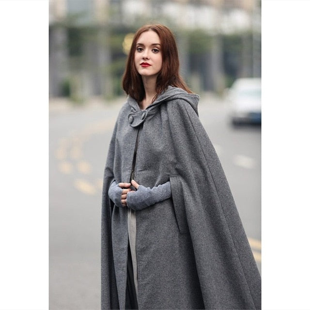 Warm Nesa Trench Gothic Poncho Coat Women Coat Long Coat Cape Cape Victorian Winter Fashion Medieval Cloak Hooded Vintage UpqSzMV