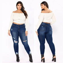 Load image into Gallery viewer, Nesa Fashion -  New Plus Size Retro Big Size Casual Skinny Jeans High Waist Slim Pants Woman Denim Jeans Stretched Ripped Bottoms YL-NEW
