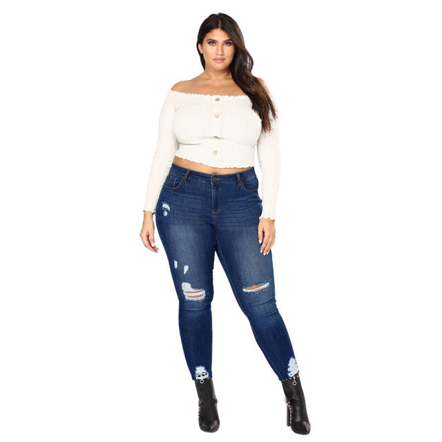 Nesa Fashion -  New Plus Size Retro Big Size Casual Skinny Jeans High Waist Slim Pants Woman Denim Jeans Stretched Ripped Bottoms YL-NEW