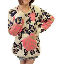Load image into Gallery viewer, New Autumn Winter Sweater Women Korean Perspective Rose Flowers long-sleeved Round Neck Pullover Bottoming Shirt Vestidos LXJ118