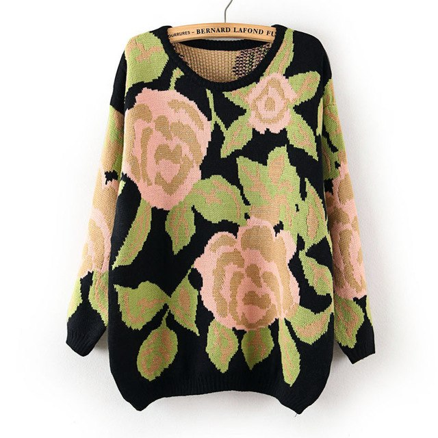 New Autumn Winter Sweater Women Korean Perspective Rose Flowers long-sleeved Round Neck Pullover Bottoming Shirt Vestidos LXJ118