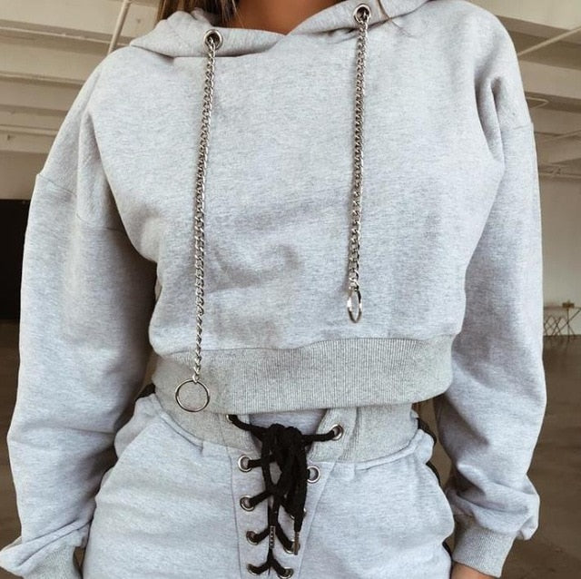 Nesa Fashion Women Tracksuit  Autumn  Winter Fashion New Hooded Sweatshirt Long Sleeve Crop Top And Pants Suit Two Piece Clothing Set