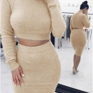 New Fashion Winter Dresses Casual Design Wrap Turtleneck Long Sleeve Two Piece Set Bodycon Dress Sexy Bandage Partywear WDC941