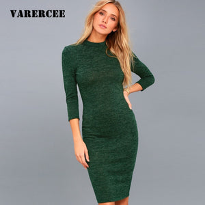 VARERCEE Knitted Dress women 2018 Spring Autumn Sexy Bodycon dress female Vintage High Waist Vestido women Winter Basic Dresses