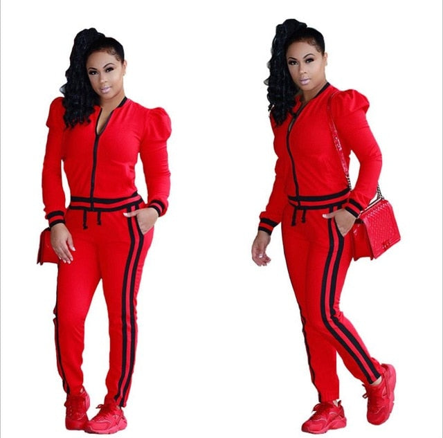 Two Piece Set 2017 Fashion Winter Tracksuit Women Full Sweat Suits Long Sleeve Top + Pants 2 Piece Set Women