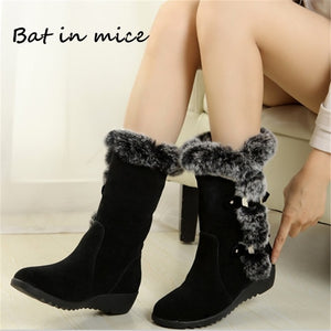 Nesa Fashion New Winter women casual Warm fur Mid-Calf boots shoes women Slip-On Round Toe flats Snow Boots shoes