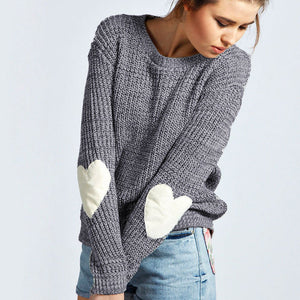 Nesa Fashion Autumn Winter New Women Knitwear Fashion Jumper Heart-shaped Spliced Knitted Sweaters Womens Long Sleeve Pullover Tops
