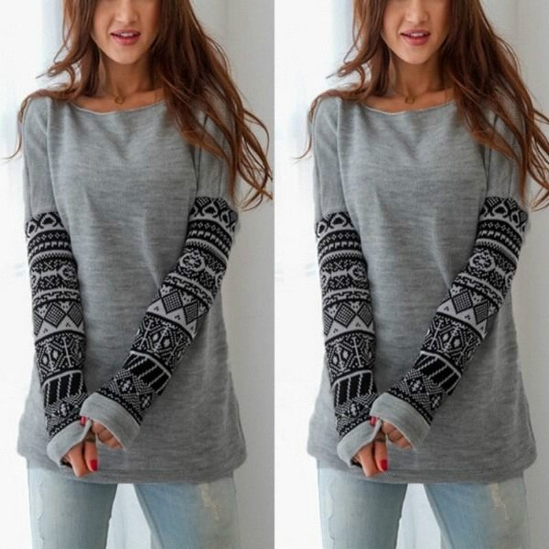 Nesa Fashion Autumn Winter Fashion Women Long Sleeve Kintted Sweater Patchwork  New O-neck Casual Sweater