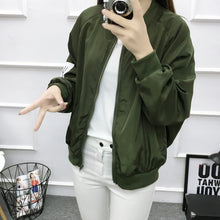 Load image into Gallery viewer, Basic Jacket Women Retro Letter Printing Zipper Up Bomber Jacket Brand Casual Coat Autumn Slim Outwear baseball Clothes V11