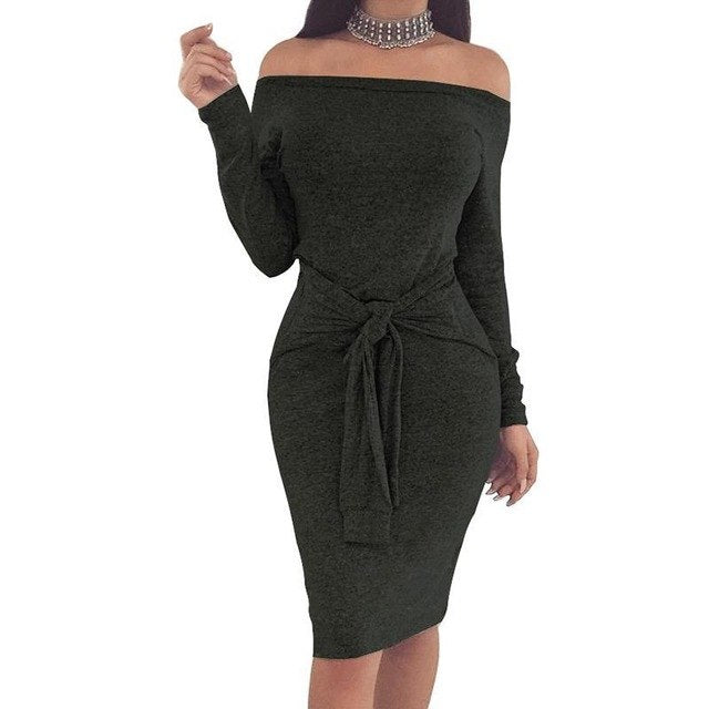 Sexy Slim Women Slash Neck Bodycon Sashes Dress Mujer Off Shoulder Long Sleeve Winter Dresses Spring Autumn Party
