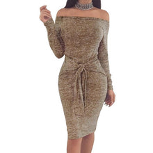 Load image into Gallery viewer, Sexy Slim Women Slash Neck Bodycon Sashes Dress Mujer Off Shoulder Long Sleeve Winter Dresses Spring Autumn Party
