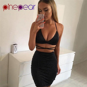 Nesa Fashion Sexy Sparkly Bodycon Bandage Dress 2019 Halter Deep V-Neck Lace Up Crop Top 2 Two Piece Set Party Club Vestido