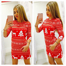 Load image into Gallery viewer, Women Autumn Winter Clothes Christmas Party Bodycon Casual Ladies Mini Dress Round Neck Long Sleeve Regular Size