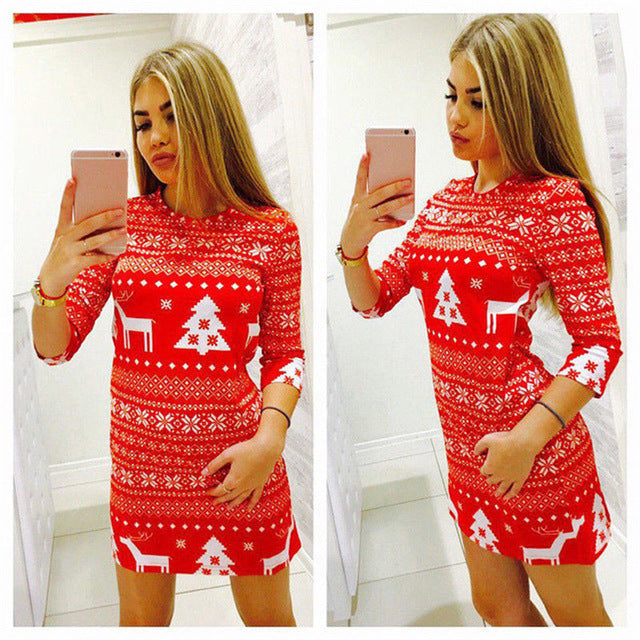 Women Autumn Winter Clothes Christmas Party Bodycon Casual Ladies Mini Dress Round Neck Long Sleeve Regular Size