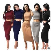 Load image into Gallery viewer, Ladies long sleeve turtleneck crop top long skirt for female women 2018 autumn new slim sexy two pieces sets women's suits
