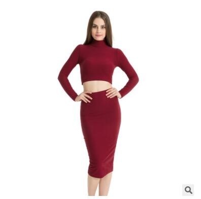 Ladies long sleeve turtleneck crop top long skirt for female women 2018 autumn new slim sexy two pieces sets women's suits