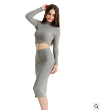8ad3b8a25df Ladies long sleeve turtleneck crop top long skirt for female women ...
