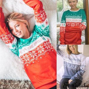 Nesa Fashion  New Santa Claus Xmas Knitted Sweater Christmas Sweaters Tops For Women Pullovers Blusas Warm Winter