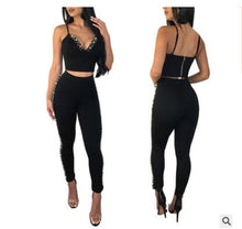 Load image into Gallery viewer, Nesa Fashion Women beading  tank top crop top women tops full pants 2 piece set for female women two pieces sets