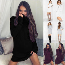 Load image into Gallery viewer, Nesa Fshion Dress Sweater White Solid New Knit Sleeve Casual Casual Turtleneck Wine Womens Autumn Gray Red Pullover Long Black Winter Women
