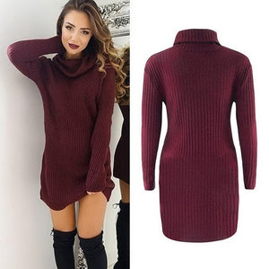 Nesa Fshion Dress Sweater White Solid New Knit Sleeve Casual Casual Turtleneck Wine Womens Autumn Gray Red Pullover Long Black Winter Women