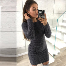 Load image into Gallery viewer, Nesa Fashion Solid Color Sweater Long Sleeve Women's Upper Outer Garment Thinner Autumn/Winter Women Fleece Warm Basic long Sweater