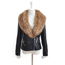 Load image into Gallery viewer, Nesa Fashion  Leather Jacket Winter Coat Ladies Slim Zipper Washed Outerwear Warm Plus Size Fashion Sexy Overcoat