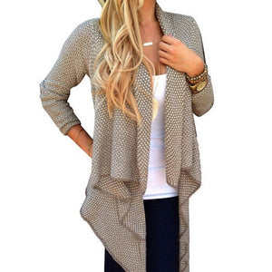 Nesa Fashion women's Loose Irregular Hem Knit Cardigan Tops Casual Open Long Sweater
