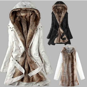 Nesa Fashion Winter Warm Women Black Hooded Faux Fur Coat Jacket Fashion Army Green Slim Liner Cotton Coat  Dropshipping
