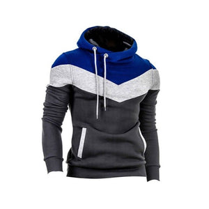 Nesa Fashion Winter Men Patchwork Long Sleeves Belt O-Neck Warm Hoodie Pullover Slim Outwear Hoddies