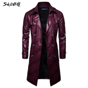 Nesa Fashion Trench Coat Homme  New Fashion Mens Long PU leather Trench Coat  Long Jacket For Men Slim Fit Winter Coat Mens