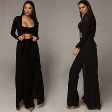 Load image into Gallery viewer, Nesa Fashion New Women Knitted 3 Piece Set Spaghetti Strap Crop Top High Waist Pant Long Sleeve Cardigan Overcoat Belt Knitwear Street-wear