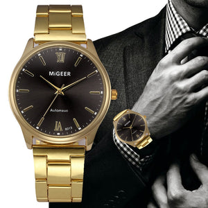 Nesa Fashion Wristwatch Men Watch Fashion Man Crystal Stainless Steel Analog Quartz Wrist Watches Casual Classics vitage Gold clock F80