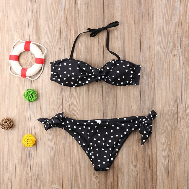Nesa Fashion Sexy Women Strapless bandage Bandeau Push Up dot printed Bikini Set lace up female summer Swimwear swimsuit beachwear