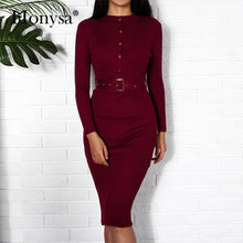 Load image into Gallery viewer, Nesa Fashion Women Midi Sweater Dress Autumn Winter  New Fashion Button Long Sleeve Pencil Dress Knitted Women Bodycon Dress Black Red