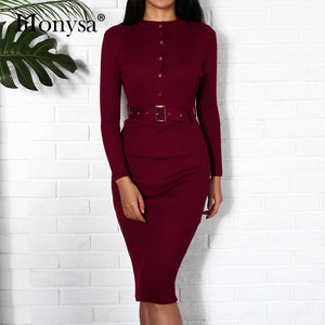 Nesa Fashion Women Midi Sweater Dress Autumn Winter  New Fashion Button Long Sleeve Pencil Dress Knitted Women Bodycon Dress Black Red