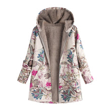 Load image into Gallery viewer, Nesa Fashion Plus Size Coat Long Winter Jacket Women Winter Warm Outwear Floral Print Hooded Pockets Vintage Oversize Coats veste femme A8