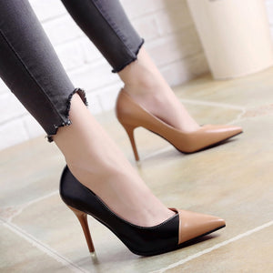 Nesa Fashion women cute sweet high quality leather office high heel shoes lady casual street & office high heel shoes sexy shoes