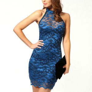 Nesa Fashion Women Halter Sleeveless Sexy Lace Elegant Party Pencil Dress Night Club Bodycon Mini Dresses