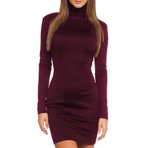 Nesa Fashion  Autumn Winter Spring Long Sleeve Bodycon Casual Dress Fall Winter Slimming Solid Color Elegant Temperament Quality Dresses