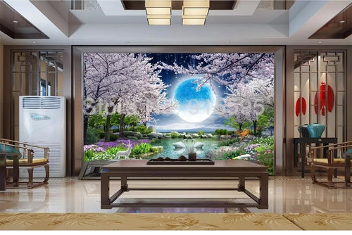 Nesa Fashion Custom Mural Wall Paper Moon Cherry Blossom Tree Nature Landscape Wall Painting Living Room Bedroom Photo Wallpaper Home Decor