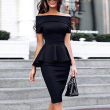 Load image into Gallery viewer, Nesa Fashion Ruffles Knee Length Celebrity Evening Party Dress -New Women Bodycon Dresses Slash Neck Short Sleeve Black Dress