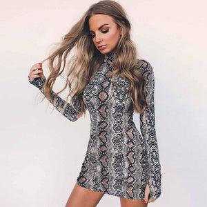 Nesa Fashion Womens Bodycon Bandage Cocktail Party Dress Ladies Winter High Neck Dress cobra Sexy Dress Club Wear Long Sleeves