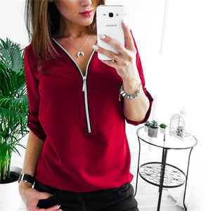 Nesa Fashion Half Sleeve Casual Shirt Autumn Winter  Zipper V Neck Chiffon Womens Tops and Blouses Ladies Clothes Plus Size