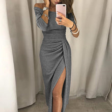 Load image into Gallery viewer, Nesa Fashion Women Sexy Elegant Party Dresses Shiny Off Shoulder Fashion Long Sleeve Ruched Thigh Slit Dress