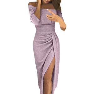 Nesa Fashion Women Sexy Elegant Party Dresses Shiny Off Shoulder Fashion Long Sleeve Ruched Thigh Slit Dress