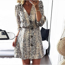 Load image into Gallery viewer, Nesa Fashion Women Casual Half Sleeve Button Mini Dress Autumn Sexy V Neck Snakeskin Printed  Party Dresses