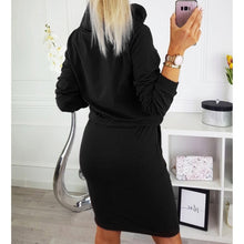 Load image into Gallery viewer, Nesa Fashion Women  Pocket Dress Turtleneck Female Drawstring Elastic Waist Straight Party Causal Solid Lace-Up Red Dresses M0165