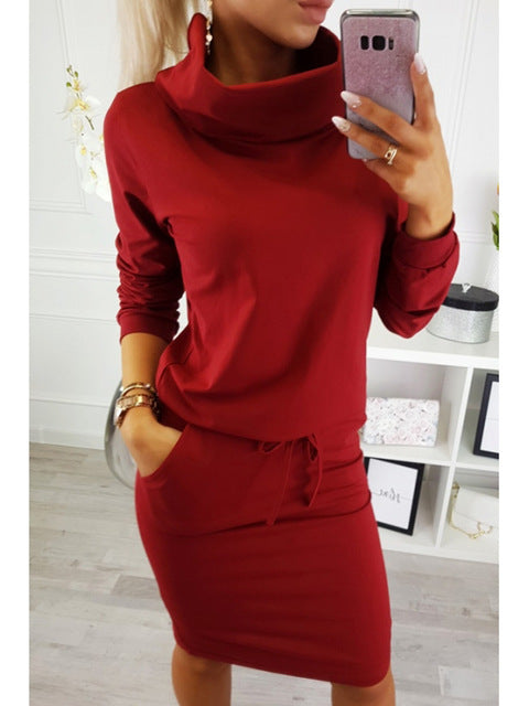 Nesa Fashion Women  Pocket Dress Turtleneck Female Drawstring Elastic Waist Straight Party Causal Solid Lace-Up Red Dresses M0165